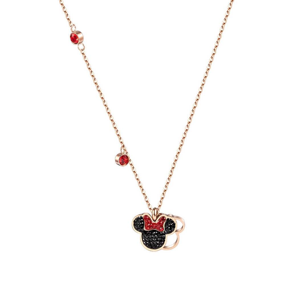 Cartoon מיני מאוס תליון שרשרת טיטניום פלדת שרשרת שרשרת גביש משובץ אופנה טרנדי נשים תכשיטי מתנת יום הולדת