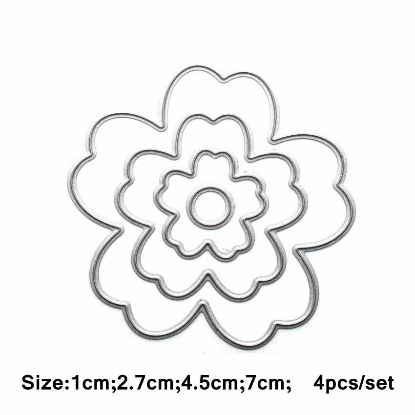 4PCS/Set Flowers Metal Dies Cutting For Scrapbooking Dies Cut Paper Happy  Birthday Gift Box Die Cutter New