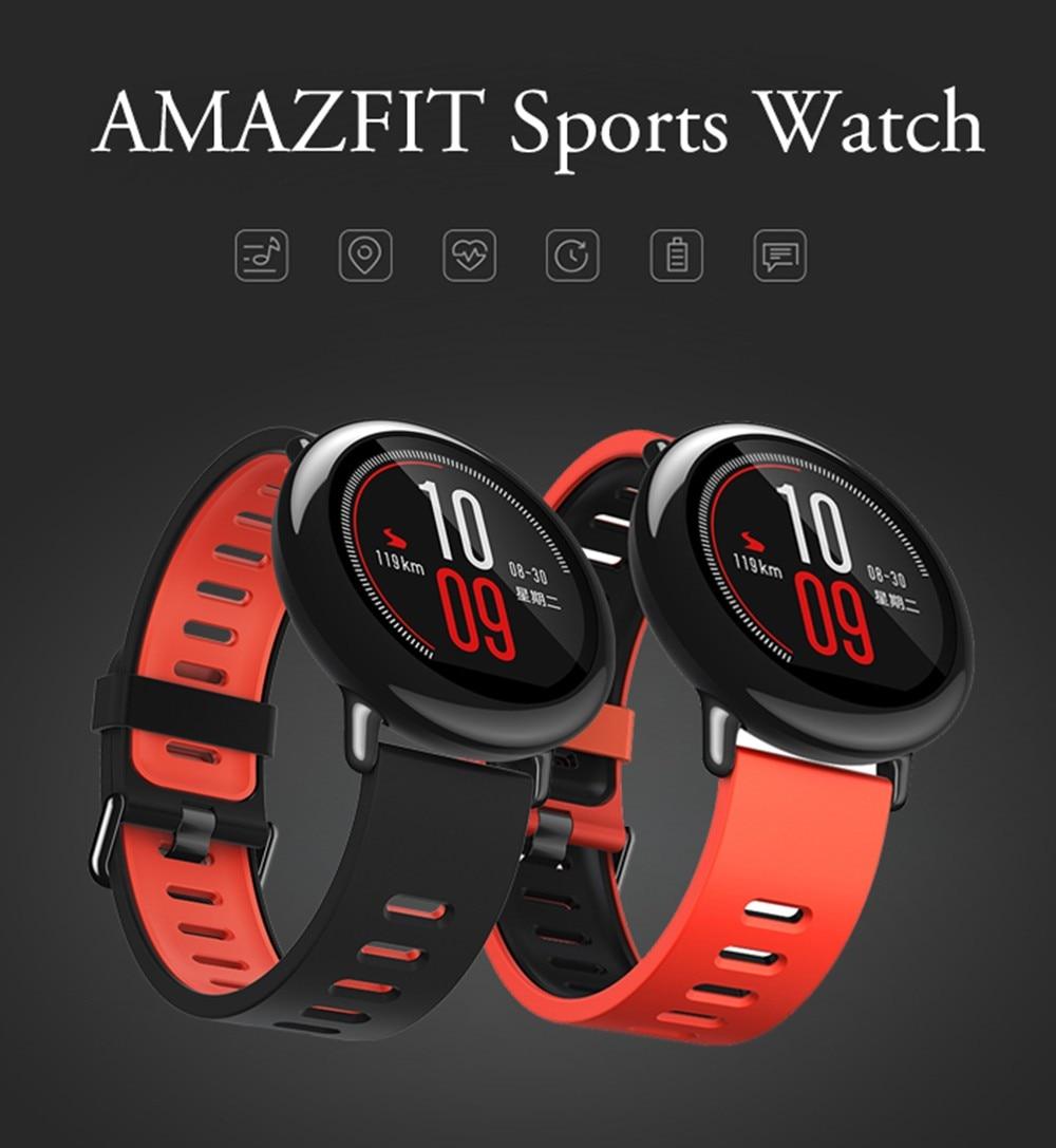 imágenes para [VERSIÓN en INGLÉS] Original Xiaomi Huami Smartwatch Reloj Bluetooth 4.0 WiFi 1.2 GHz 512 MB/4 GB Ritmo GPS Pulsómetro CE