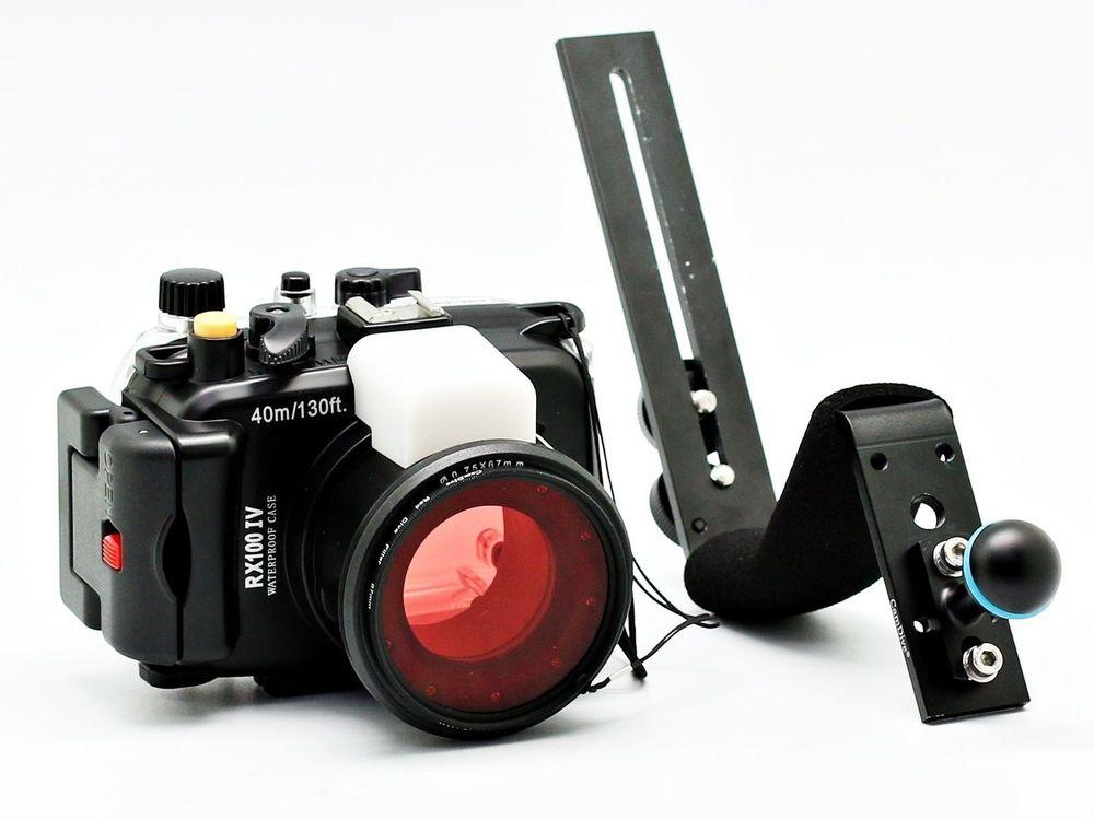 Pour Sony DSC RX100 IV 40 m/130ft Meikon Sous-Marine Caméra Logement + Rouge Sous-Marine Filtre (humide 67mm) + en aluminium Plongée Poignée