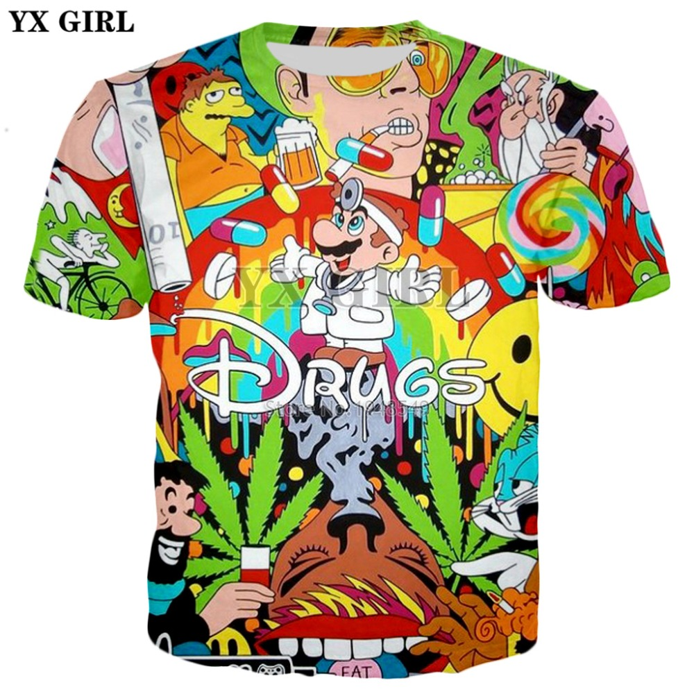 04e6dee6 YX GIRL Drop shipping 2018 summer New Fashion T-shirt Cartoon Super Mario &  Drugs