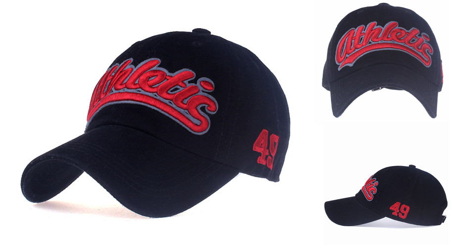 """Embroidered """"Athletic"""" Dad Hat - Front Angle, Front and Side Views"""