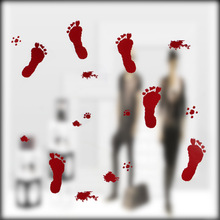 Cling Bloody Hand And Foot Printed Window Horror Plastic Mirror