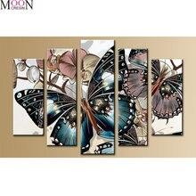 Mooncresin алмазная живопись вышивка крестиком Синие Бабочки