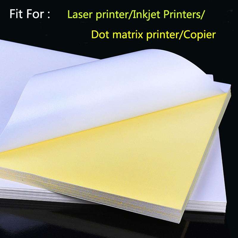 50 Sheets A4 Laser Inkjet Printer Copier Craft Paper White Self Adhesive Sticker Label Matte Surface Paper Sheet a4 light brown kraft paper printable matt self adhesive sticky label for inkjet printer 2 to 20 sheets