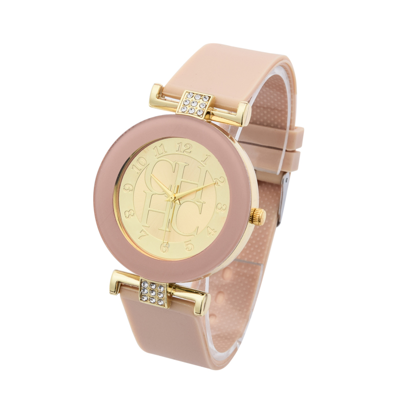 New Brand Fashion Casual Gold Quartz Watch Women Crystal Silicone Watches Relogio Feminino Dress WristWatches Hot Christmas Gift 2016 new brand fashion retro style men dress quartz leather rivets bracelet watches women crystal casual relogio feminino watch