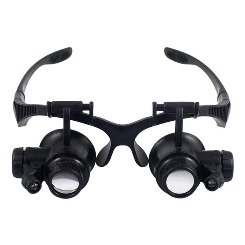 10X 15X 20X 25X Szkło powiększające Podwójne światła LED Okulary Okulary Lupa Lupa Lupa Jubiler Oglądaj Narzędzia do naprawy na rok 2017