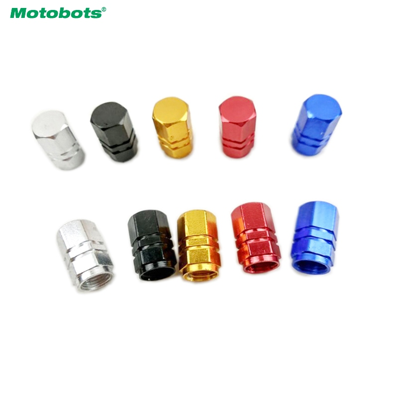 MOTOBOTS 4Pcs Aluminum Alloy Hexagon Gas Nozzle Cap Tire Valve Caps Leak Proof Cap For Car Truck Auto 5-Color #FD-5478