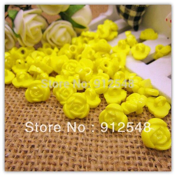 11mm 100pcs yellow rose shape plastic buttons flower buttons for children garment ,mgh003