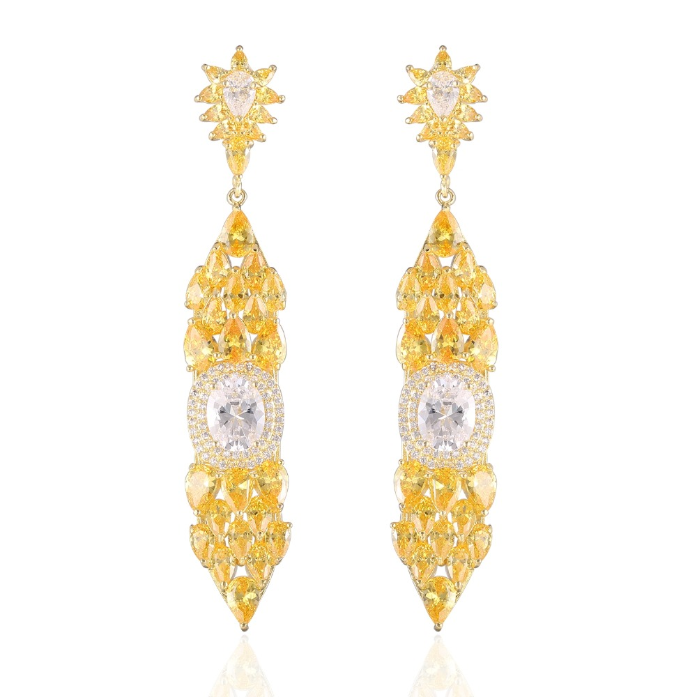 63e51fcd1 GrayBirds New Brand Classic Jewelry Luxury Copper AAA CZ Yellow And White  Colors Drop Earrings For Wedding Girl XYE029