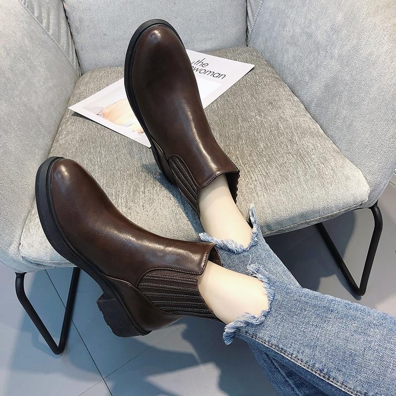 Tête Chaussures À Fond Dames De Mode Chaude Cuir Bottes Noir Pu Style Cheville marron Femmes Ronde Épais Martin En Nouveau Imperméables vN8wnm0