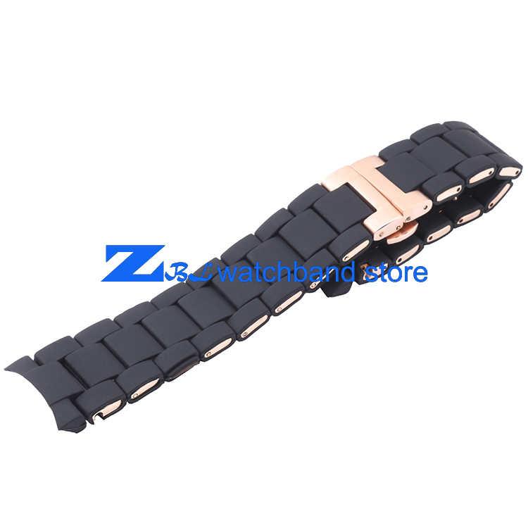 Karet silikon gelang jam Rose gold dalam warna hitam AR silika gel untuk 5905 man 23 mm 5906 wanita 20 mm tali menonton band