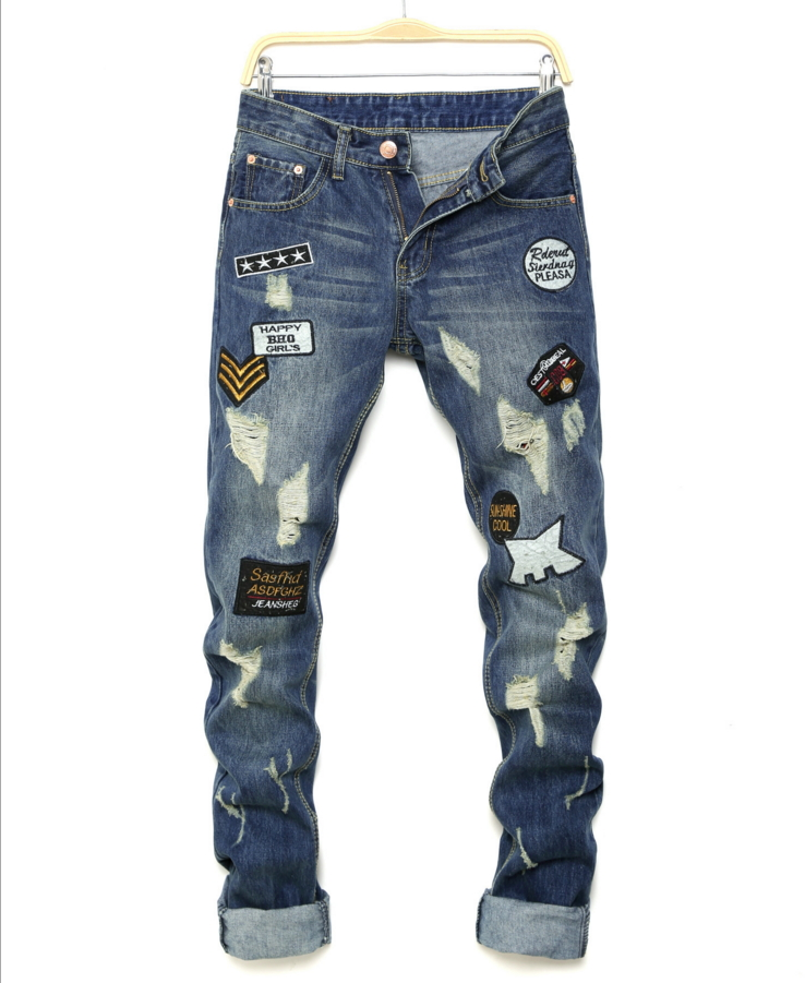 ФОТО Men's casual holes Distressed ripped Jeans for Men TornDenim Pants Male New Fashion Garment Washed skinny biker punk Jeans J011