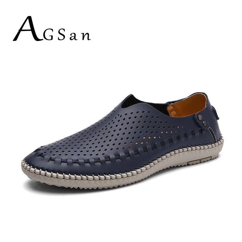 Loisirs Cuir Sur Hommes white Conduite Main Glissement Faits Respirant En Agsan blue D'été À Chaussures Classique La Casual De Brown Mocassins PwqRdYa