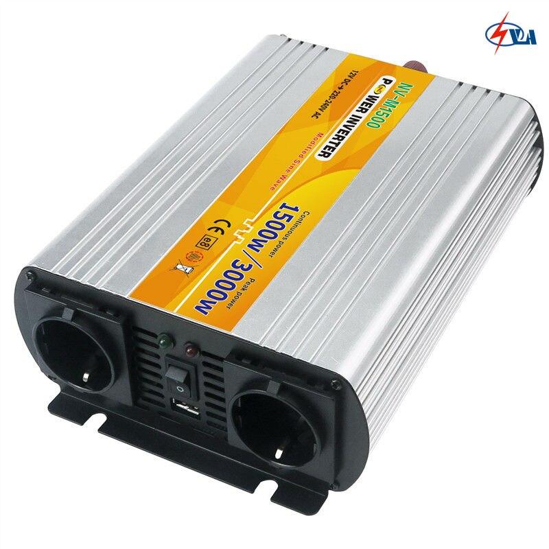 ФОТО NV-M1500 High Frequency 1.5KW  Regulator Household Modified Sine Wave Solar Power Invertor DC 12V to AC 220V 1500 Watt Converter