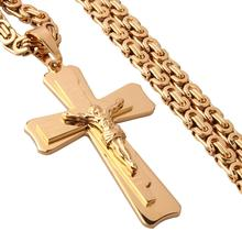 Granny Chic Classic Cross Pendant Necklaces for Men Stainless Steel 6mm Gold Byzantine Link Mens Necklace Chain 18-36