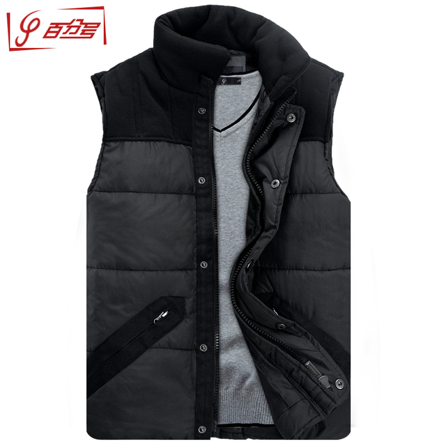 Autumn Winter Men's Stand Collar Thickening Cotton Wadded Vest Men Vest Man Vests Waistcoat Plus Size Available Free Shipping