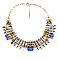 2015 New Styles Vintage Antique Blue Fashion Jewelry Resin Pendant Women Steampunk Collar Necklace