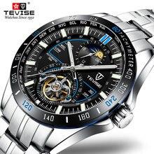Tevise lune Phase montre hommes montres mécaniques mode luxe hommes automatique montre horloge homme affaires étanche montres
