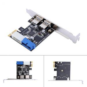Image 5 - جديد USB 3.0 PCI E بطاقة التوسع محول خارجي 2 ميناء USB3.0 Hub الداخلية 19pin رأس PCI E بطاقة 4pin IDE موصل الطاقة