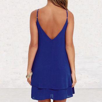 Lossky женское летнее шифоновое платье с открытой спиной, сексуальное мини-платье на бретельках, повседневные свободные платья, модное женское черное красное платье для девочек 3