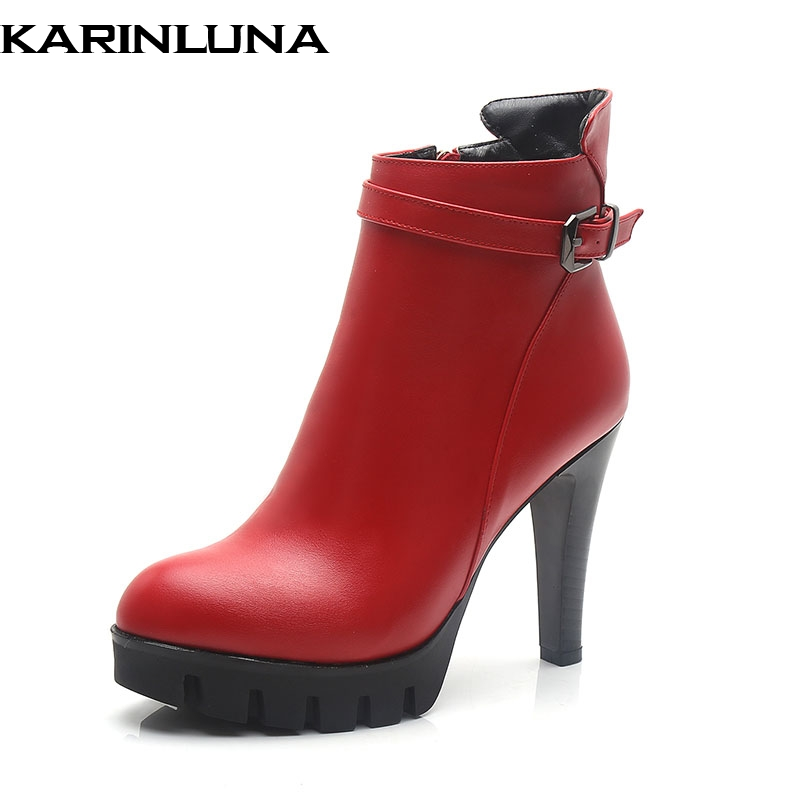 Karinluna New top quality Winter Plush Thin High Heels Woman Shoes Ankle Boots Sexy Platform Party Boots Shoes WomenKarinluna New top quality Winter Plush Thin High Heels Woman Shoes Ankle Boots Sexy Platform Party Boots Shoes Women