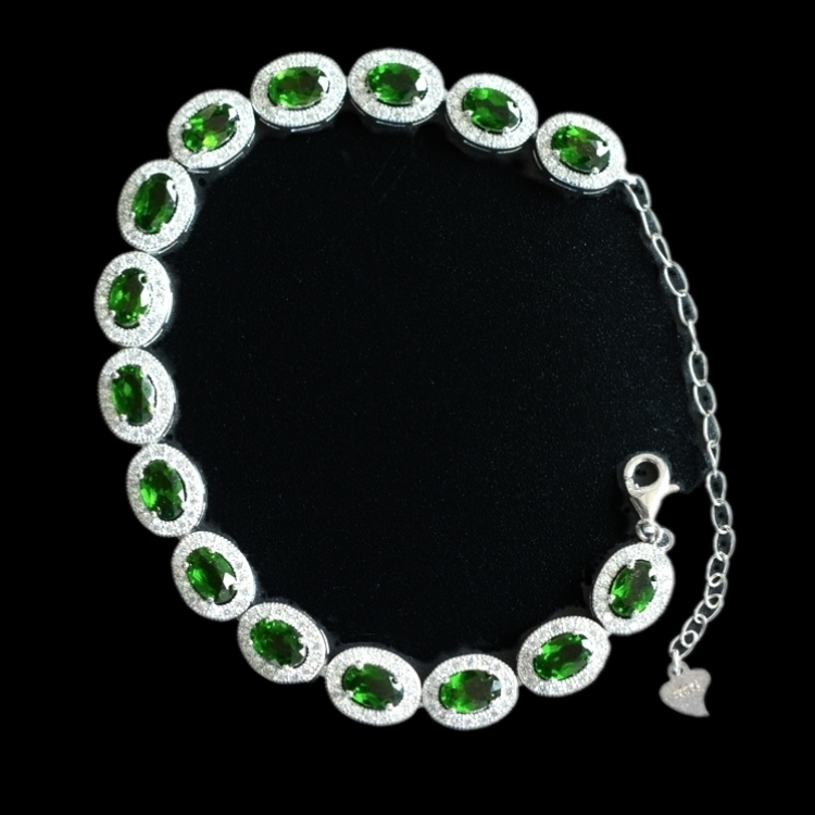 Diopside green flat chain +s925  bracelet 16cm +4cm  FPPJ wholesale beads nature amazing gemstone Diopside green flat chain +s925  bracelet 16cm +4cm  FPPJ wholesale beads nature amazing gemstone