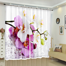 Senisaihon Customize 3D Blackout Window Curtains Pink Magnolia Flower Pattern Thicken Polyester Bedroom for Living Room