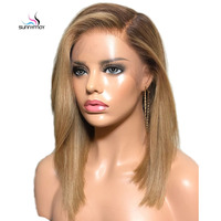 Sunnymay 13x4 Bob Wig Ombre Human Hair Wigs With Baby Hair Straight Lace Front Wig Pre Plucked Remy Lace Front Human Hair Wigs
