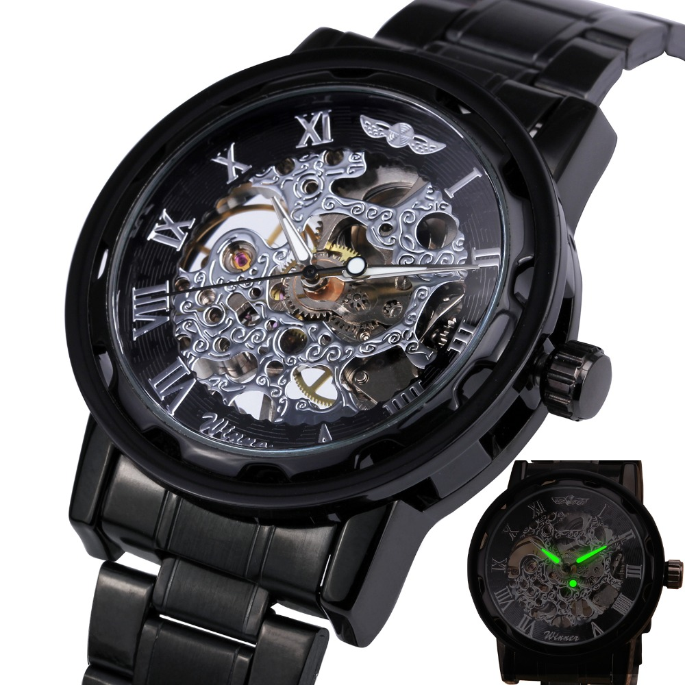 aliexpress com buy hot classic vintage luxury business steampunk aliexpress com buy hot classic vintage luxury business steampunk r men s skeleton mechanical watch black metal strap r dial lover gift box from