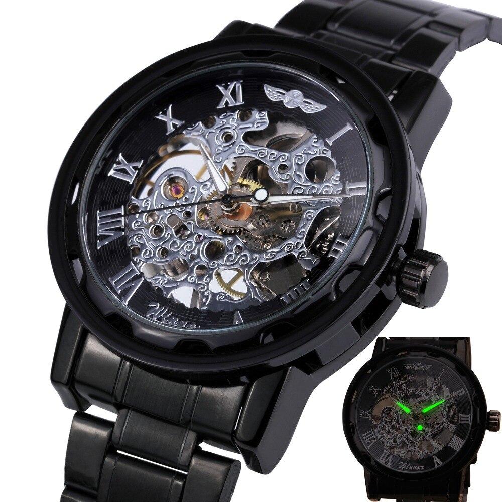 HOT Classic Vintage Luxury Business Steampunk Roman Men s Skeleton Mechanical Watch Black Metal Strap Roman