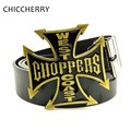 Mens Designer Black Leather Belts with Big Metal Buckle West Choppers Coast Iron Cross Belt Buckles For Men Jeans Western Cowboy