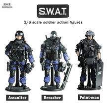 hot deal buy 12 inch soldier set special police action toy figures 1/6 scale soldier models swat team assaulter/breacher/point-man boys gift