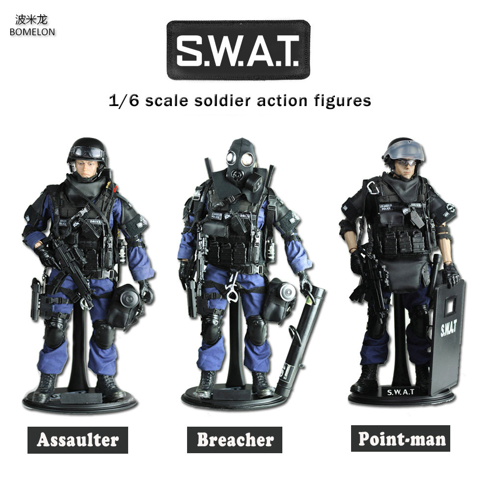 12 inch Soldier Set Special Police Action Toy Figures 1/6 Scale Soldier Models SWAT Team Assaulter/Breacher/Point-man Boys Gift