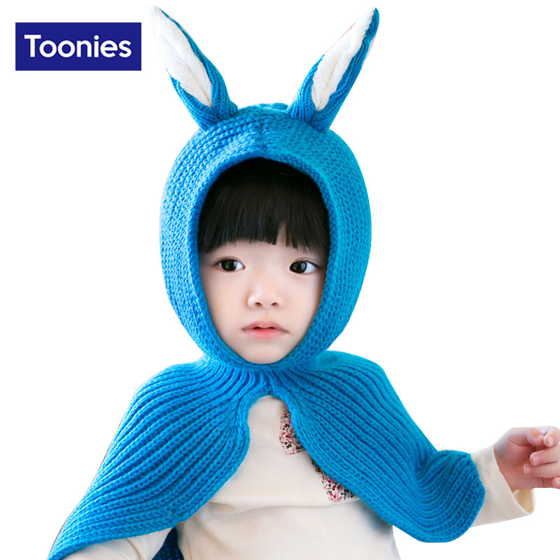 2017 Fashion Sweet Princess Children Shawl Scarf Girl Cute Hooded Rabbit Ears Warm Winter Knit Hot Selling Kids Scarf 5 Color