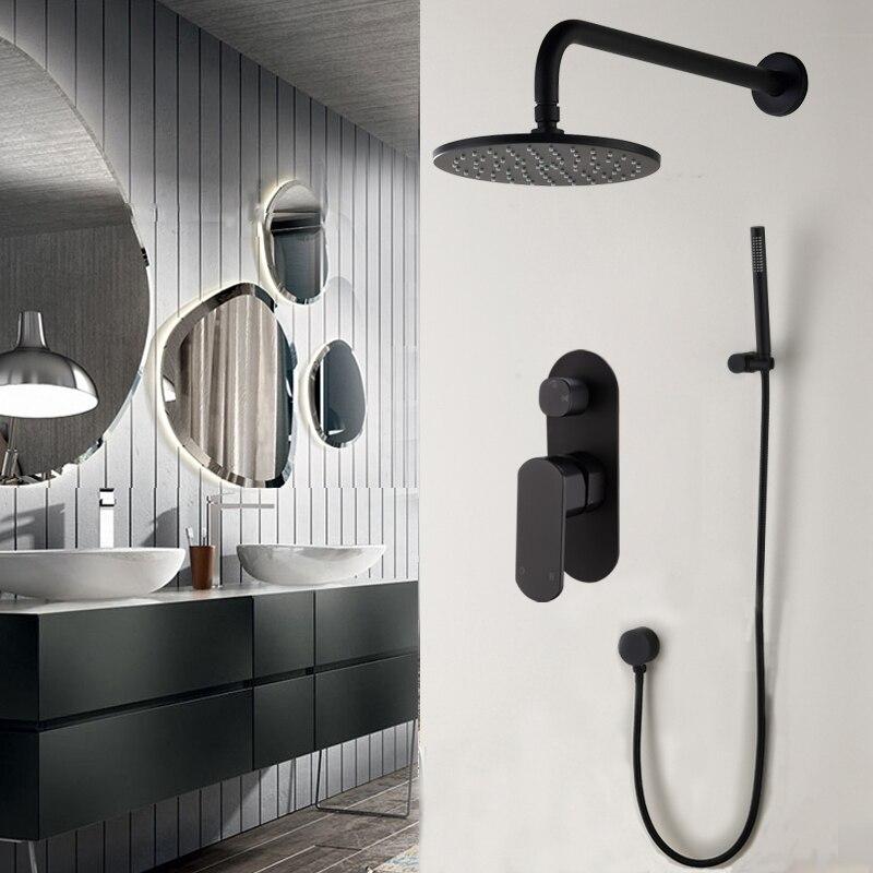 Mitigeur de douche de salle de bains en laiton avec système de douche à effet pluie robinet de douche noir avec Valve et ensemble de douchette, 16-156