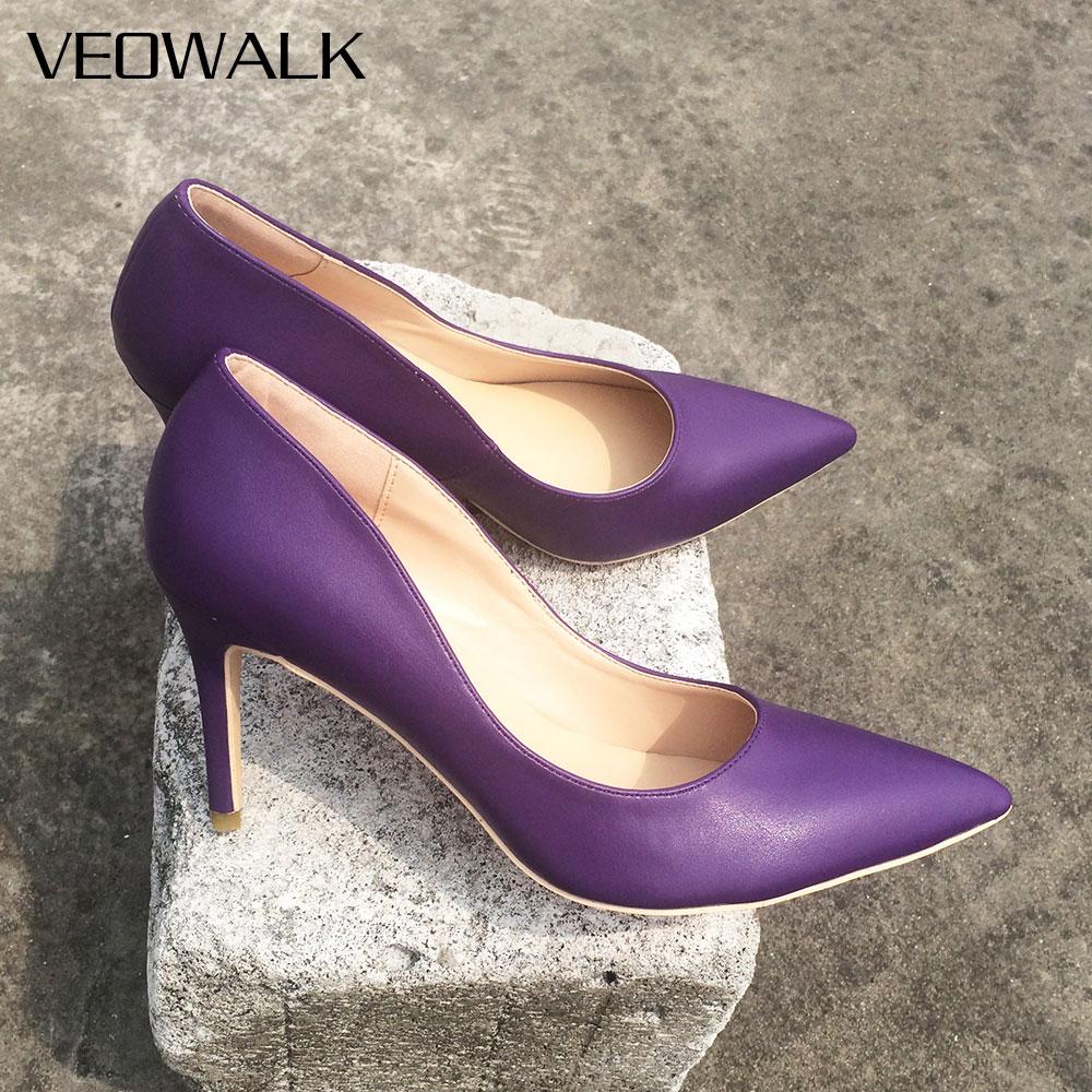 Veowalk Customized Brand Shoes Woman High Heels Pumps Slip On Purple Microfiber Basic Sandals Wedding/Party Super High Shoes
