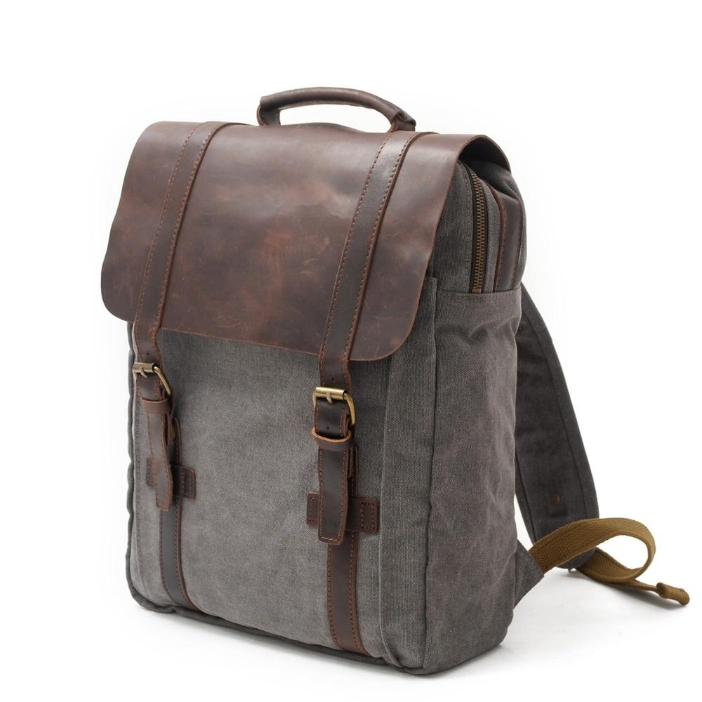 Mode sac à dos en cuir toile hommes sac à dos sac d'école militaire voyage sacs à dos femmes sac à dos homme sac à dos Mochila