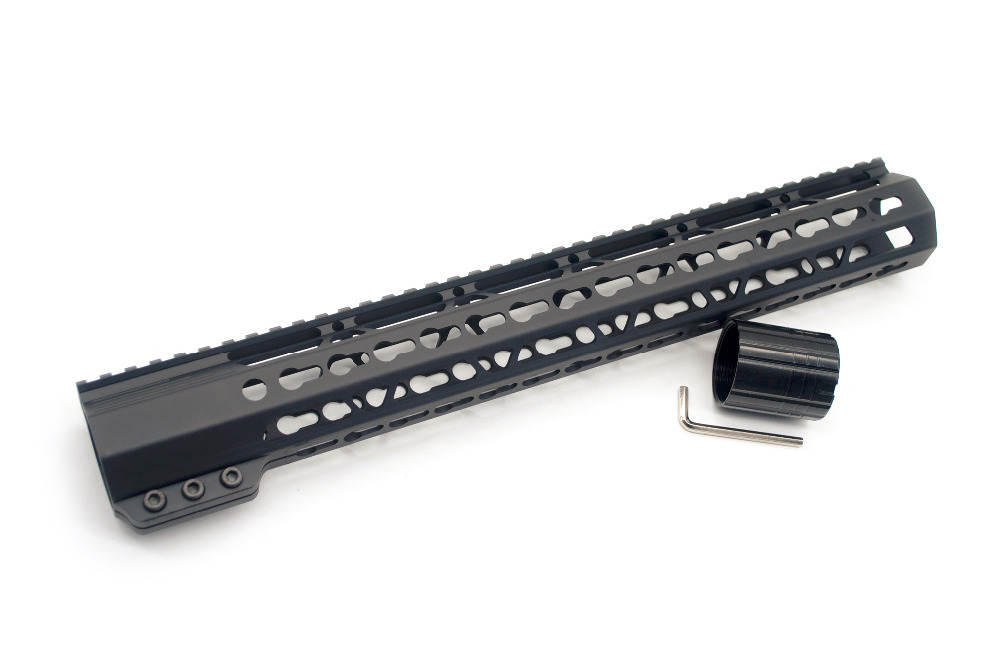 308 Black Color 15 Inch Length Clamping Keymod Picatinny Rail Handguard Fit LR 308