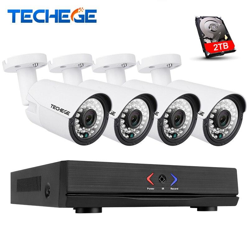 Techege 4CH 1080 P POE NVR комплект 2MP ip-камера ИК Ночное видение Водонепроницаемый IP67 P2P облако Услуги 1080 P PoE системы видеонаблюдения
