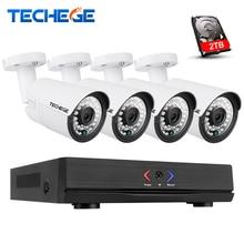 Techege 4CH 1080P POE NVR Kit 2MP IP camera IR Night Vision Waterproof IP67 P2P Cloud Service 1080P PoE CCTV Surveillance system