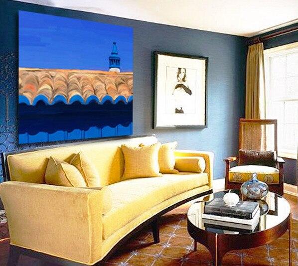 Handpainted Blue Navy Beige Beautiful Architecture Detail Oil ...