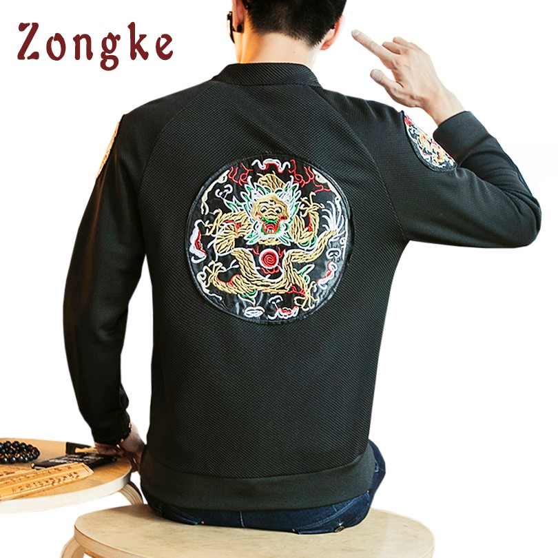 2018 New Chinese Dragon Embroidery Bomber Jacket Coat Men Jaqueta Masculina Casual Jacke ...