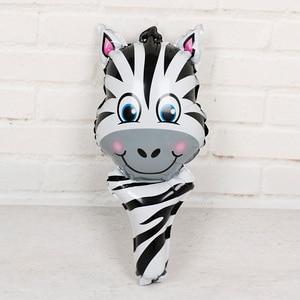Image 2 - 6 sztuk balony foliowe z główką zwierzęcą safari, zoo ręczny nadmuchiwany balon powietrza Baby Shower dekoracje na przyjęcia urodzinowe prezenty dla dzieci