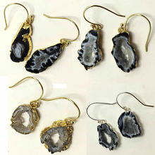 Natural Onyx Irregular quartz earrings Multi Colorful Slice Agat Crystal Stone DIY Fit charm jewelrys wholesale