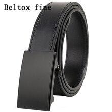 Cinturones de vestir de cuero con brida de grano superior para hombres, sin trinquete, hebilla automática, 1 3/8, cinturones de diseño, cinturones para hombres ceinture