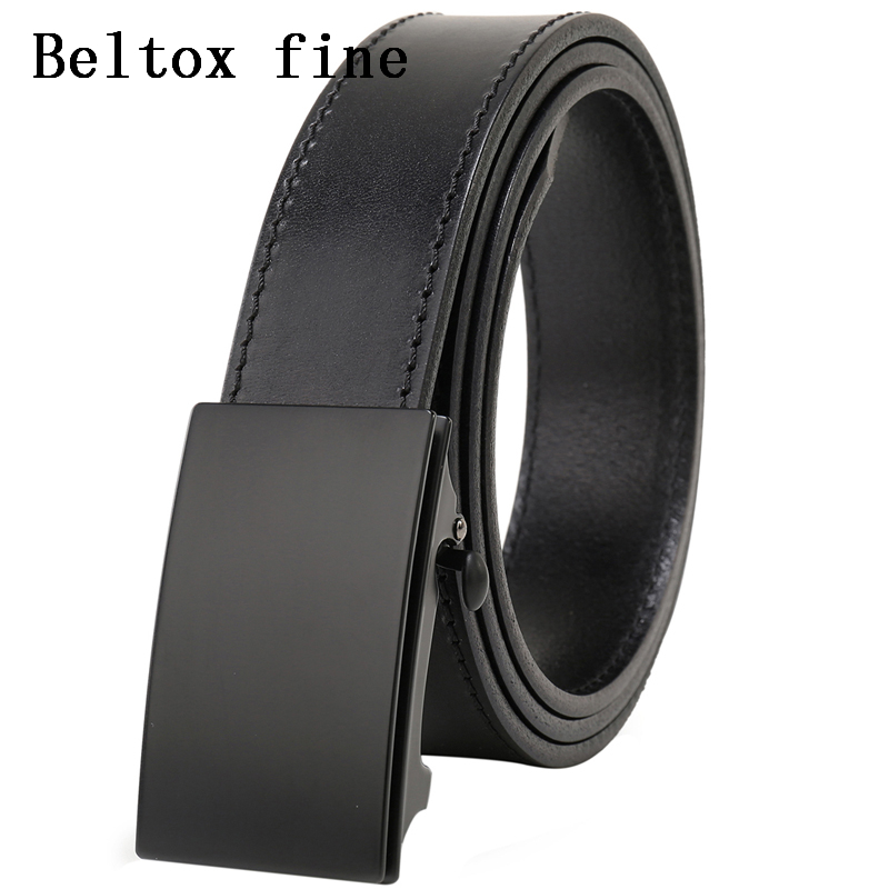 Men's Top Grain Bridle Leather Dress Belts No Ratchet Automatic Buckle 1 3/8 Designer Belt Cassic belts for men ceinture-in Men's Belts from Apparel Accessories