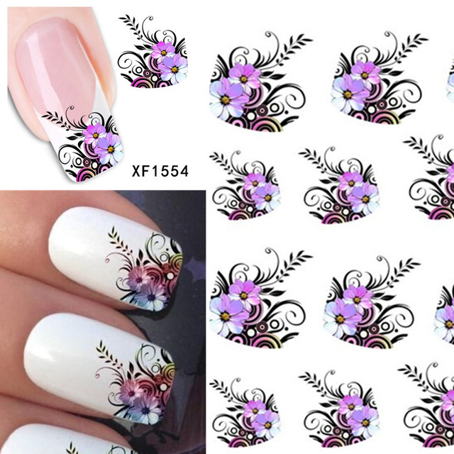 2sheets Hot DIY Designs Nail Art Beauty Flower French Tips Water Stickers Nail Decals Decorations on Nails Tools XF1554 hot sale 12 styles pink flower designs 3d art nail stickers woman diy nail art decorations tip nail vinyls decals