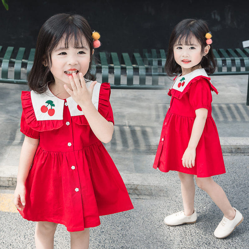 Girls Dress Summer New Baby Girl Female Cotton Cherry Princess Dresses Toddler Square Collar