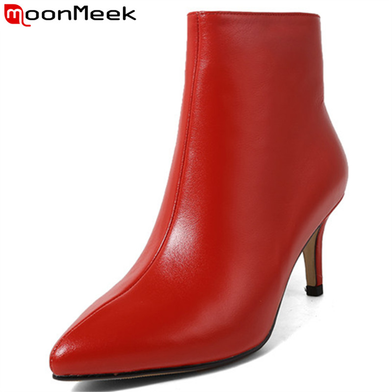 MoonMeek 2018 fashion autumn shoes woman classic prom ladies boots thin high heels genuine leather ankle boots women pointed toe moonmeek 2018 fashion autumn winter shoes woman pointed toe shoes woman wedges ladies boots women genuine leather ankle boots